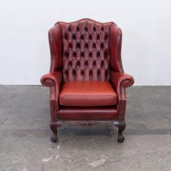 Oxblood Leather Wing Chair Folding Weight Limit Chesterfield Wingback Set Of Four In Stunning Red Full European For Sale