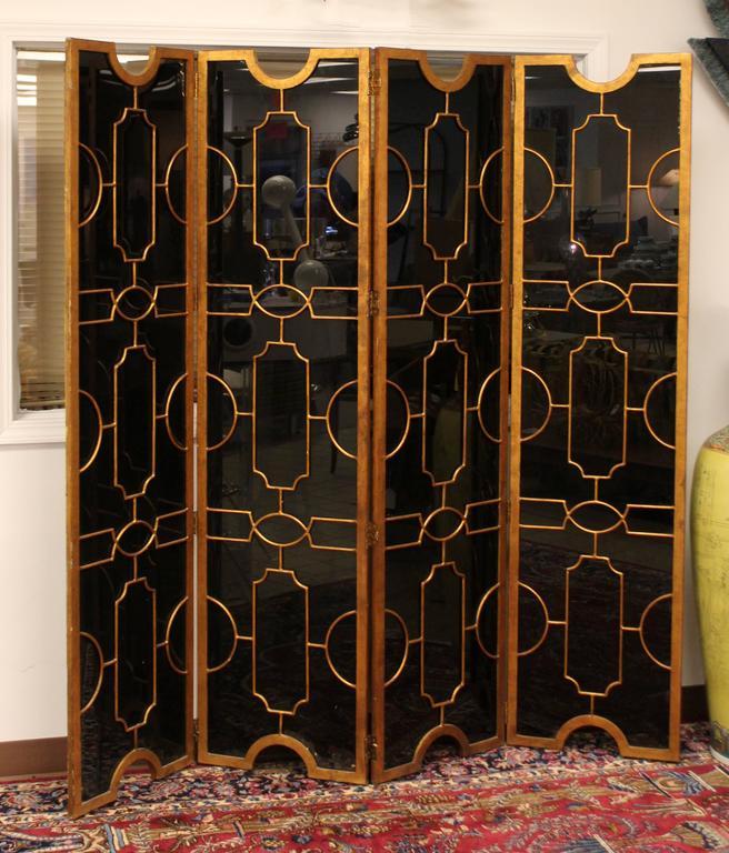Hollywood Regency Art Deco Black Glass Bronze Folding