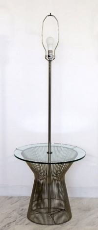 Mid-Century Modern Laurel Chrome Wire and Round Glass Lamp ...