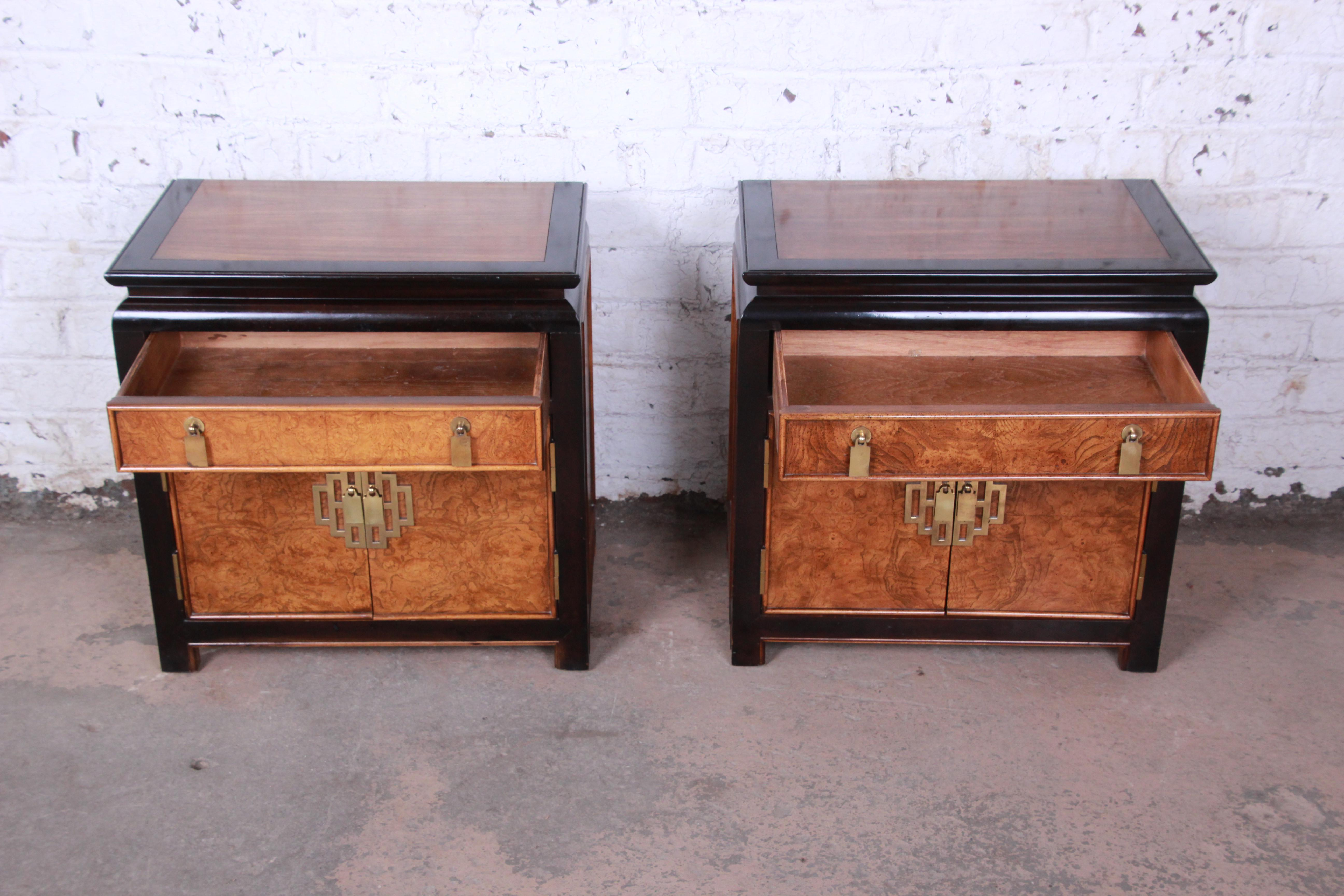 Century Furniture Black Lacquer And Burl Wood Chinoiserie