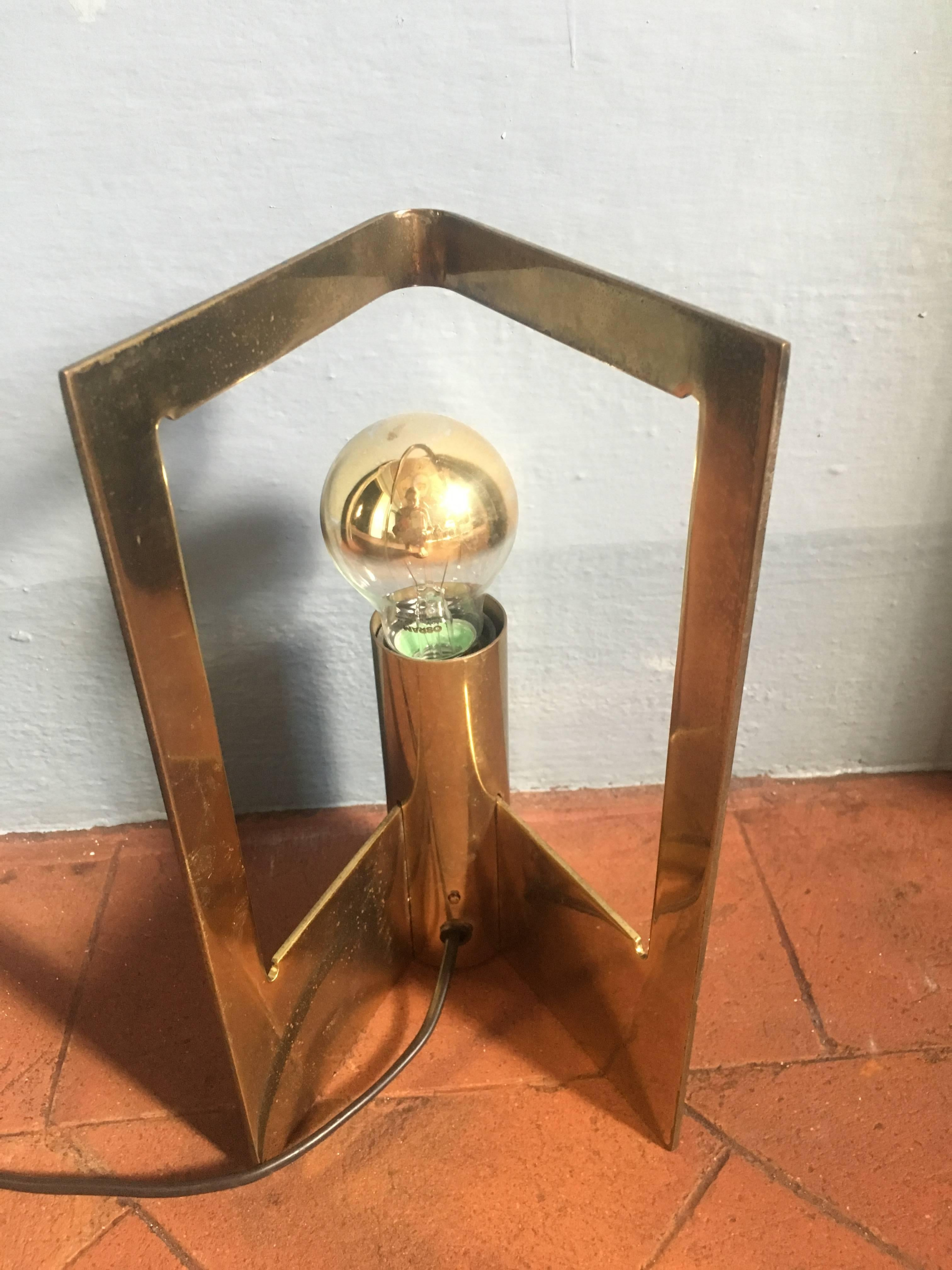 Italian Pair of Table Lamps in Solid Brass from 1960s For
