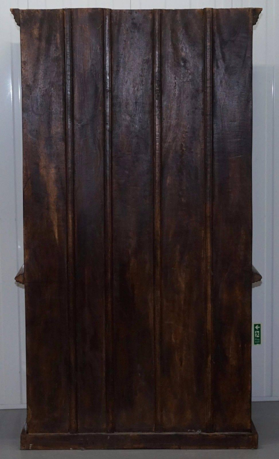 Large Chunky Solid Hand Carved Wood Vintage Bookcase Cabinet Cupboard Bookcase