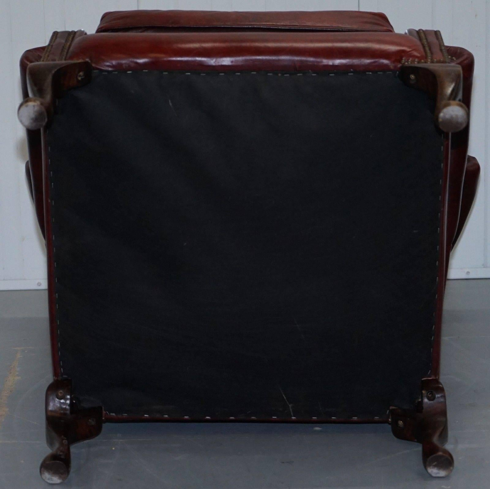oxblood leather wing chair office modern large comfortable chesterfield queen anne wingback armchair at 1stdibs