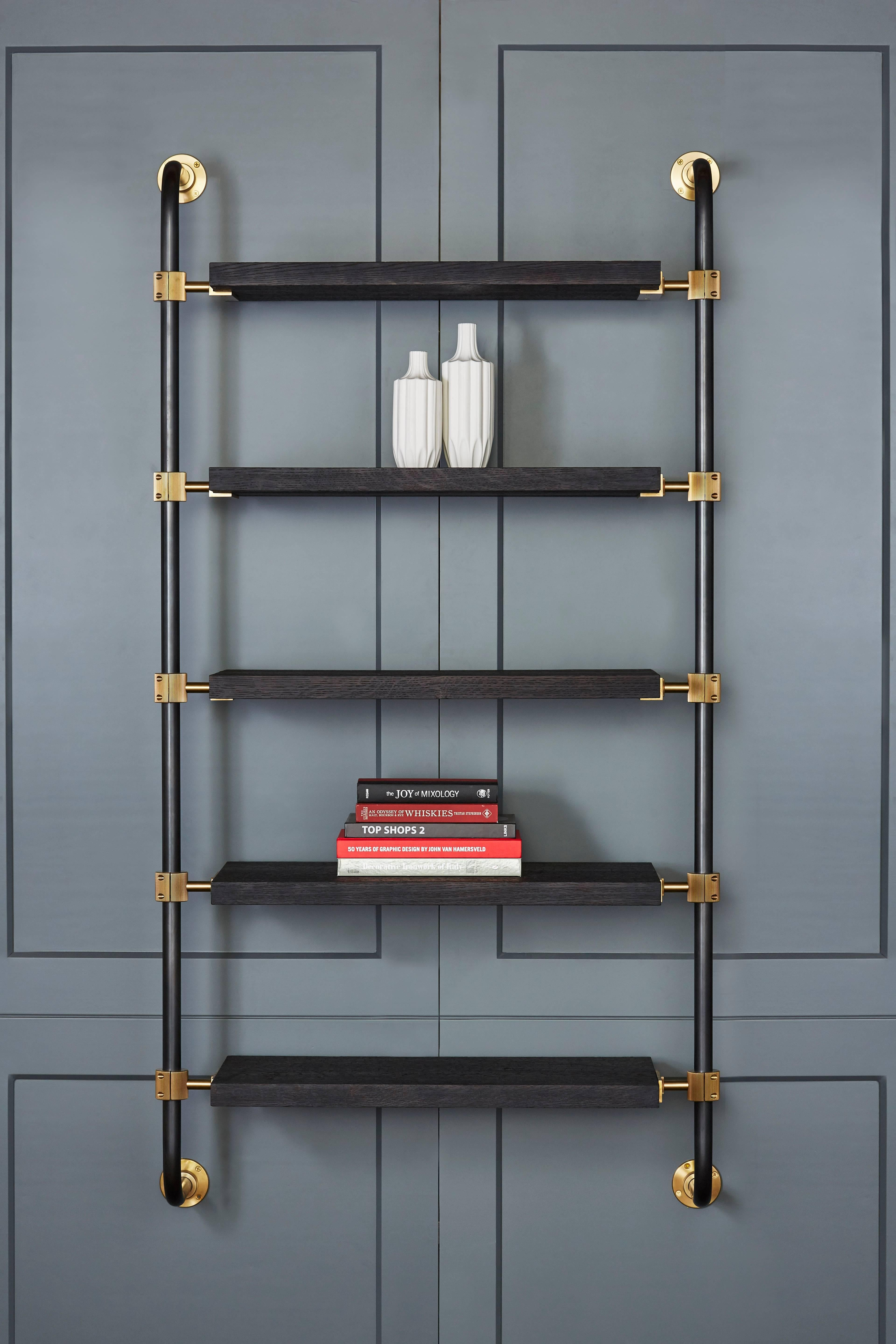 Wall Mounted Adjustable Loft Shelves With Brass Fittings And Burnt Oak Shelves For Sale At 1stdibs