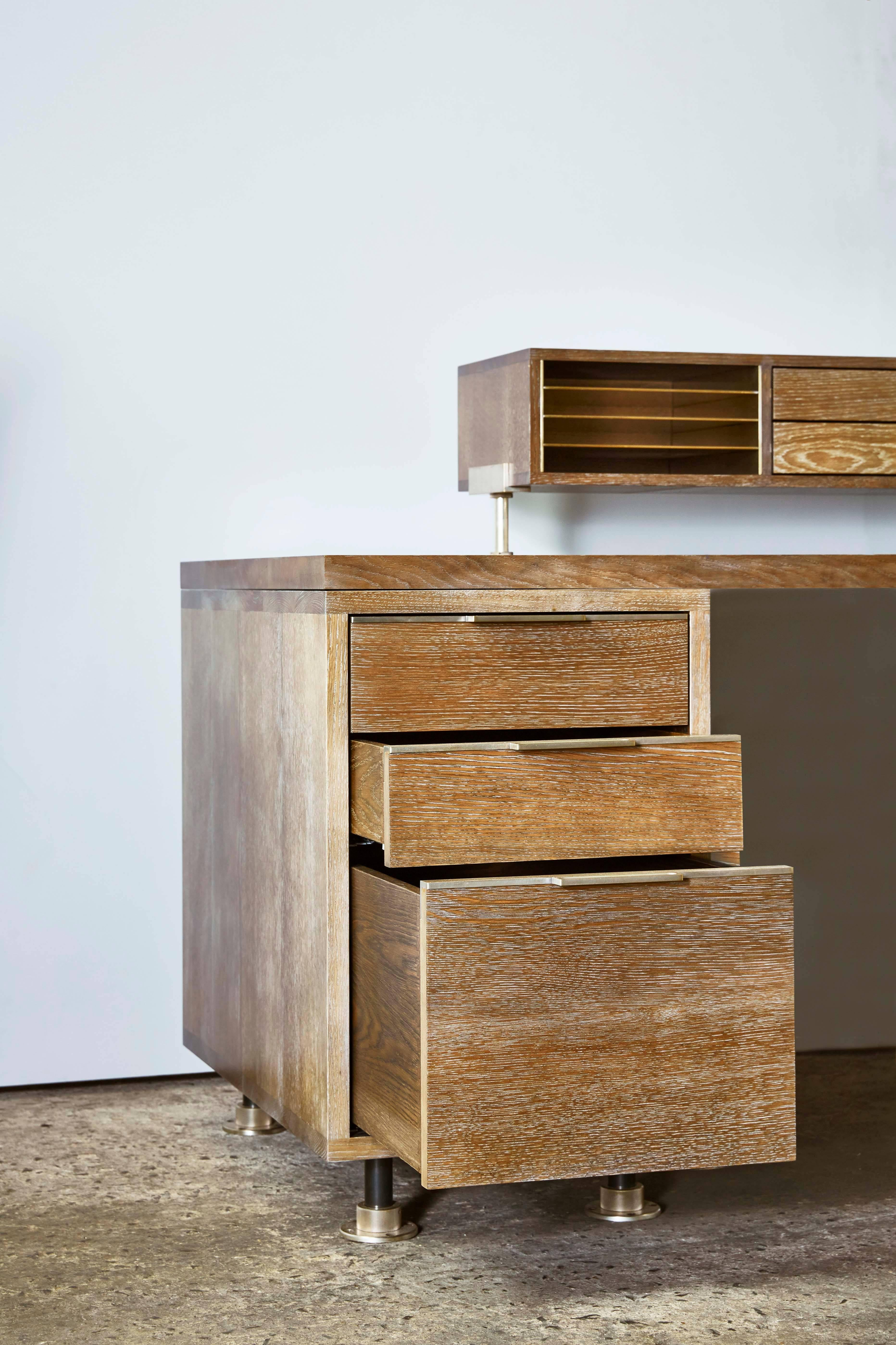 Oak and Brass Desk System with Secretary Caddy Storage