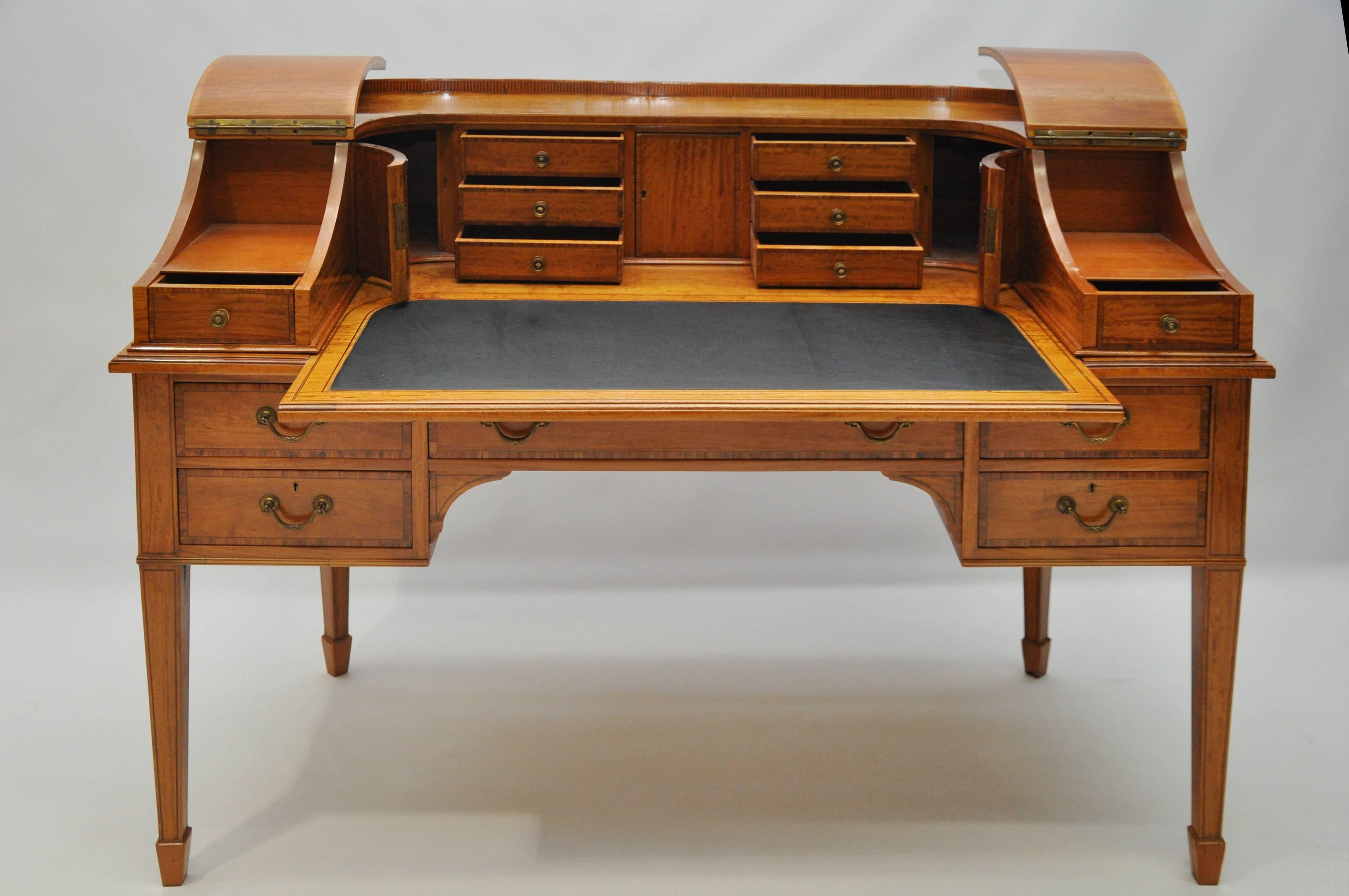 Maple And Company Edwardian Satinwood Carlton House Desk