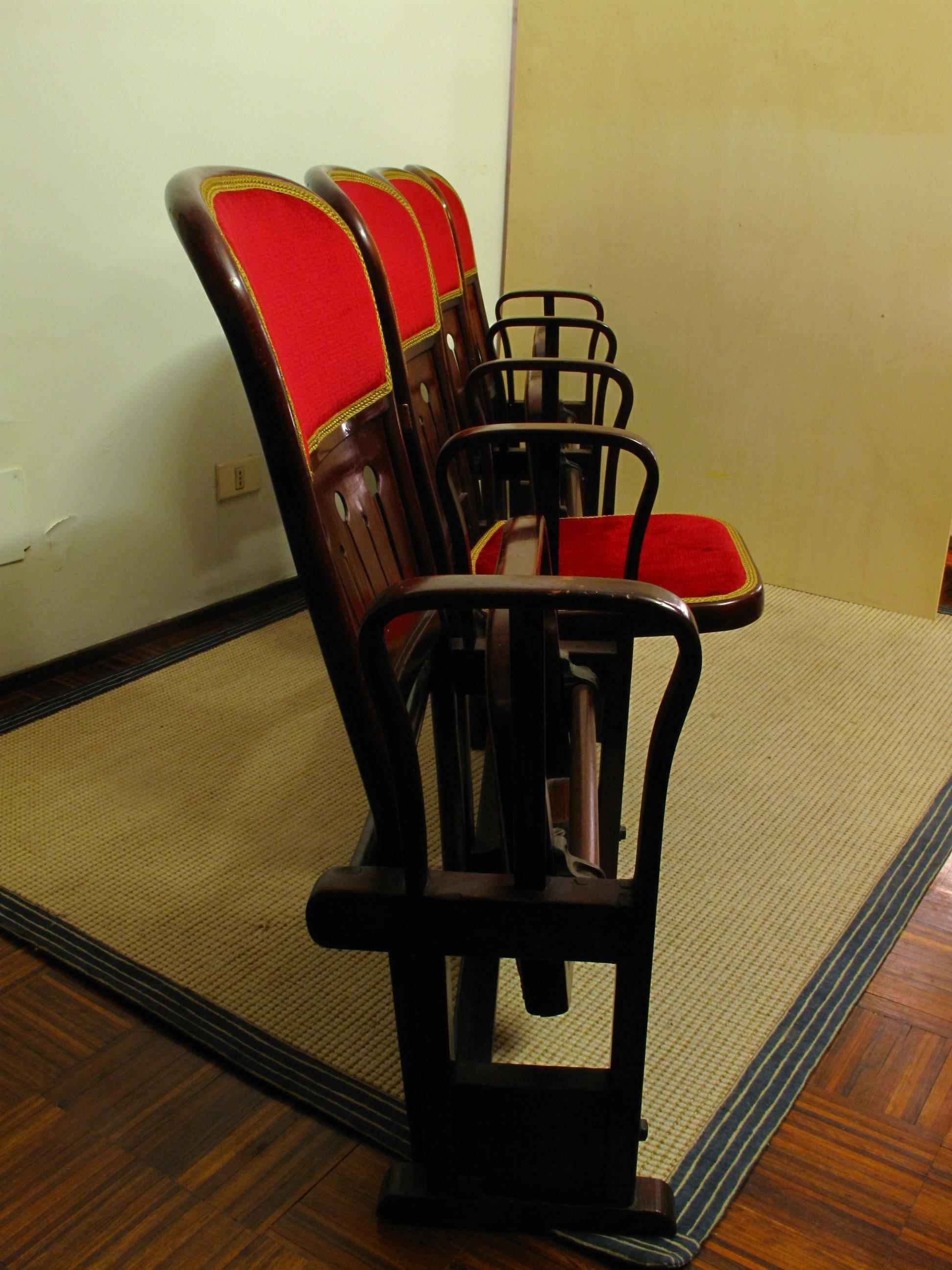 thonet chair styles covers wedding sale row of four bentwood viennese theatre chairs by thonet, circa 1907 for at 1stdibs