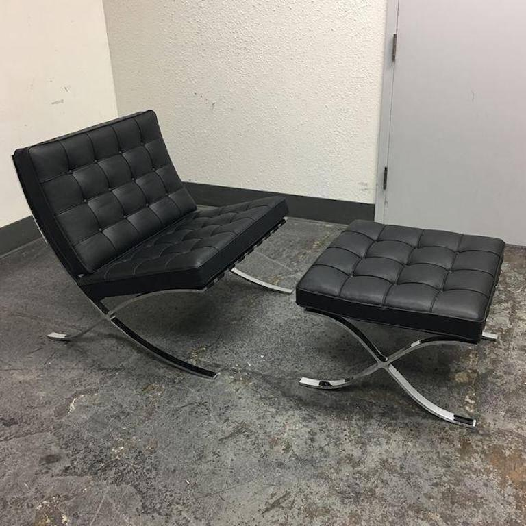 barcelona chair used kids table and chairs toys r us ludwig mies van der rohe ottoman at 1stdibs a black leather with from knoll designed by