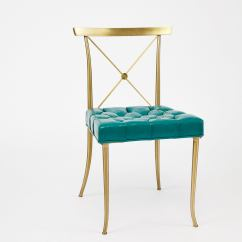 Turquoise Chairs Leather Parson Dining Pair Of Billy Haines Brass Neoclassical Side Original For Sale At 1stdibs