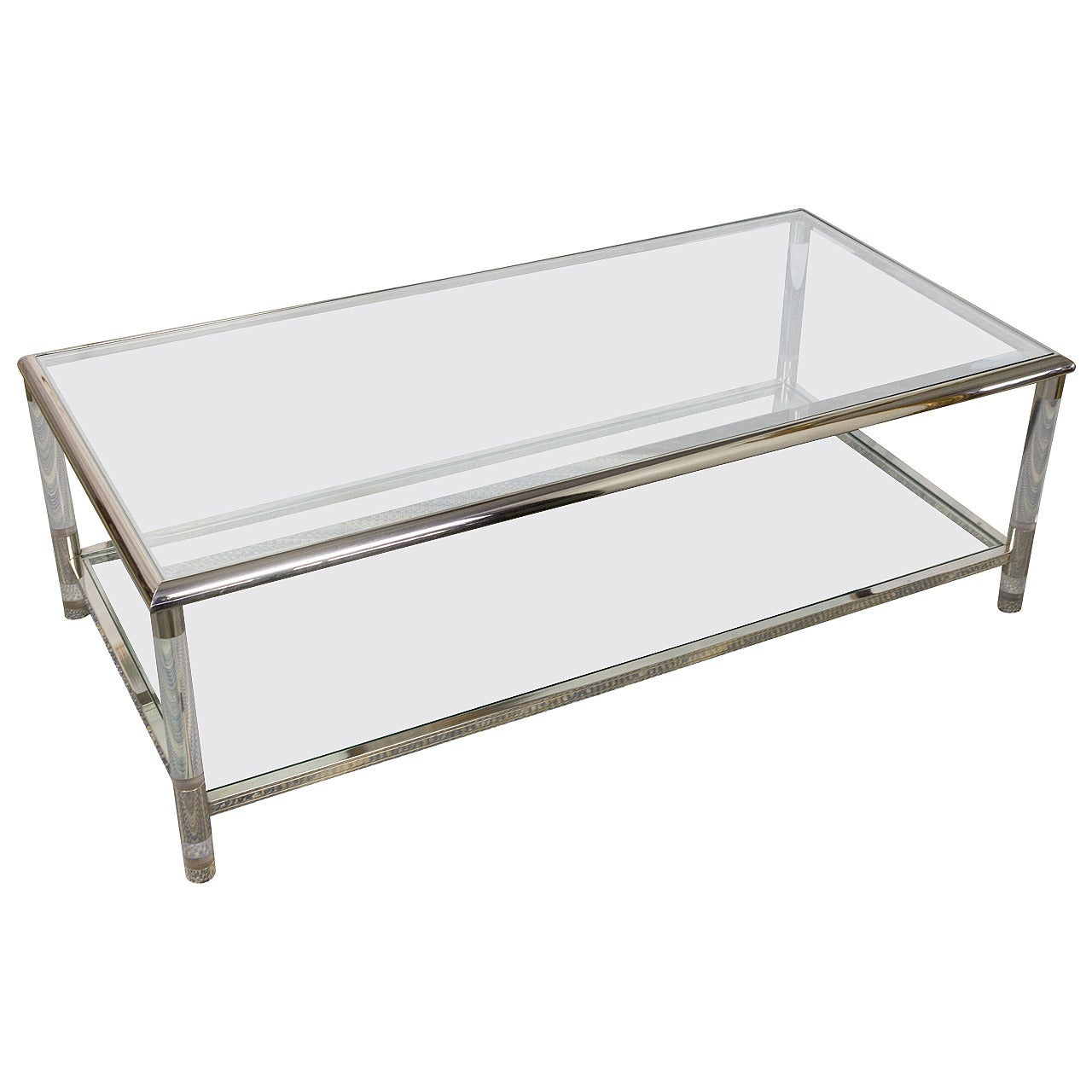 mid century modern rectangular lucite chrome and glass coffee table