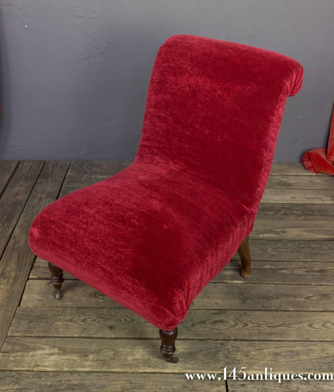 Red Slipper Chair Red Scrollback Slipper Chair For Sale At 1stdibs