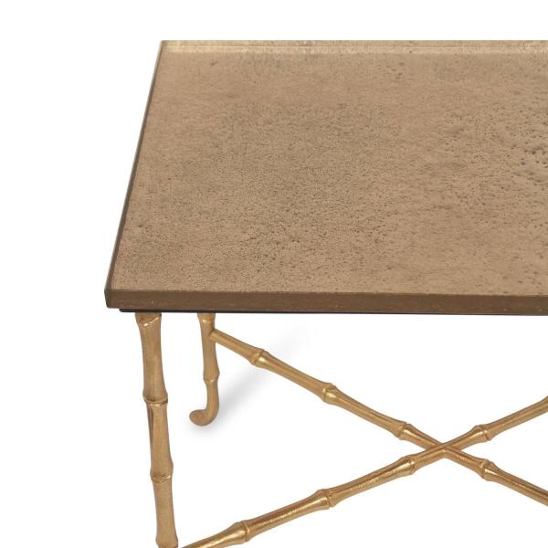 Gold Leaf Glass Top Bronze Table by Bagues at 1stdibs