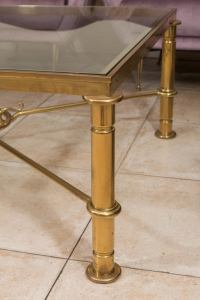 Brass coffee table with cross bar design at 1stdibs
