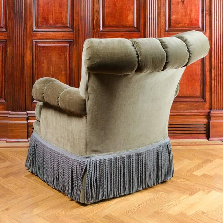 art deco club chairs leather bouncy chair for babies classic and comfortable channel back with fringe detail at 1stdibs