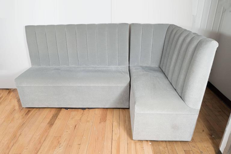 Ultra Chic Two Part High Back Banquette In Pearl Grey