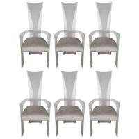 Set of Six Mid-Century Dining Chairs in Lucite and Smoked ...