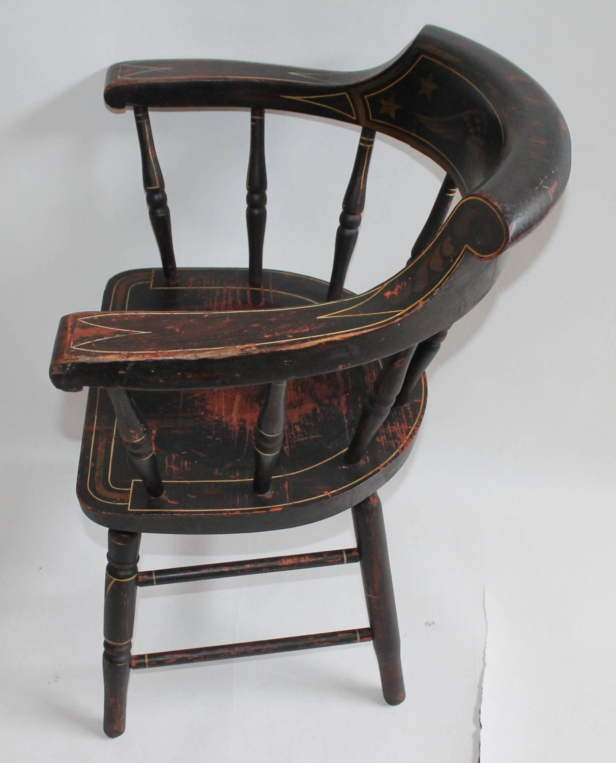 captains chair office amazon 19th century original paint decorated with
