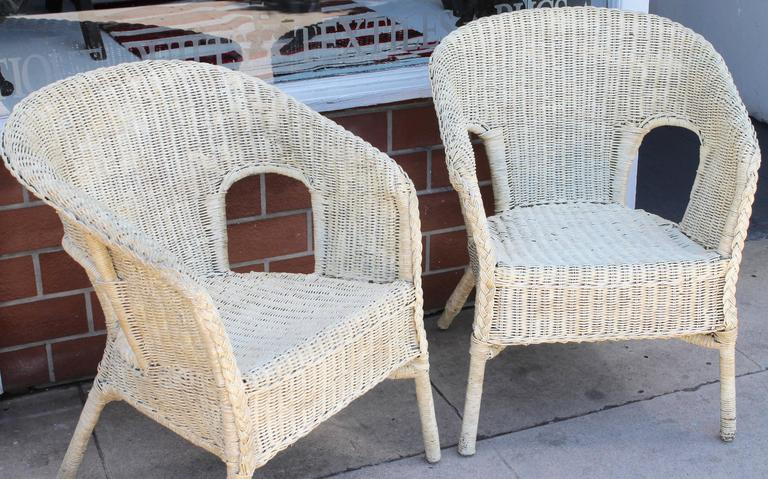 comfortable wicker chairs portable high chair seat pair of mid century bar harbor at 1stdibs with white paint and have been heavily varnished this great