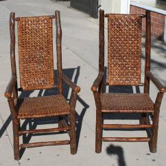 Hickory Chairs For Sale The Best High Chair Pair Of Signed Old Tall Back Armchairs At