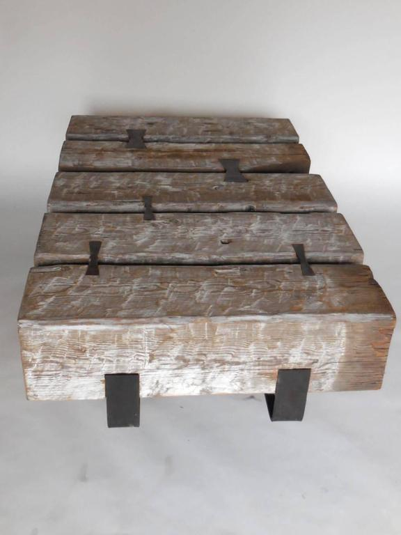 rustic modern reclaimed wood beam cocktail table with iron