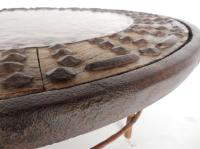 Rustic Round Copper Cocktail Table For Sale at 1stdibs