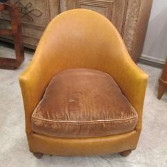 Tub Chair Covers For Sale Lazy Boy Lift Pair Of Leather Upholstered Chairs At 1stdibs