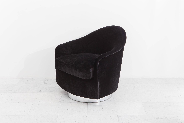 swivel chair and ottoman kitchen side chairs milo baughman black velvet usa