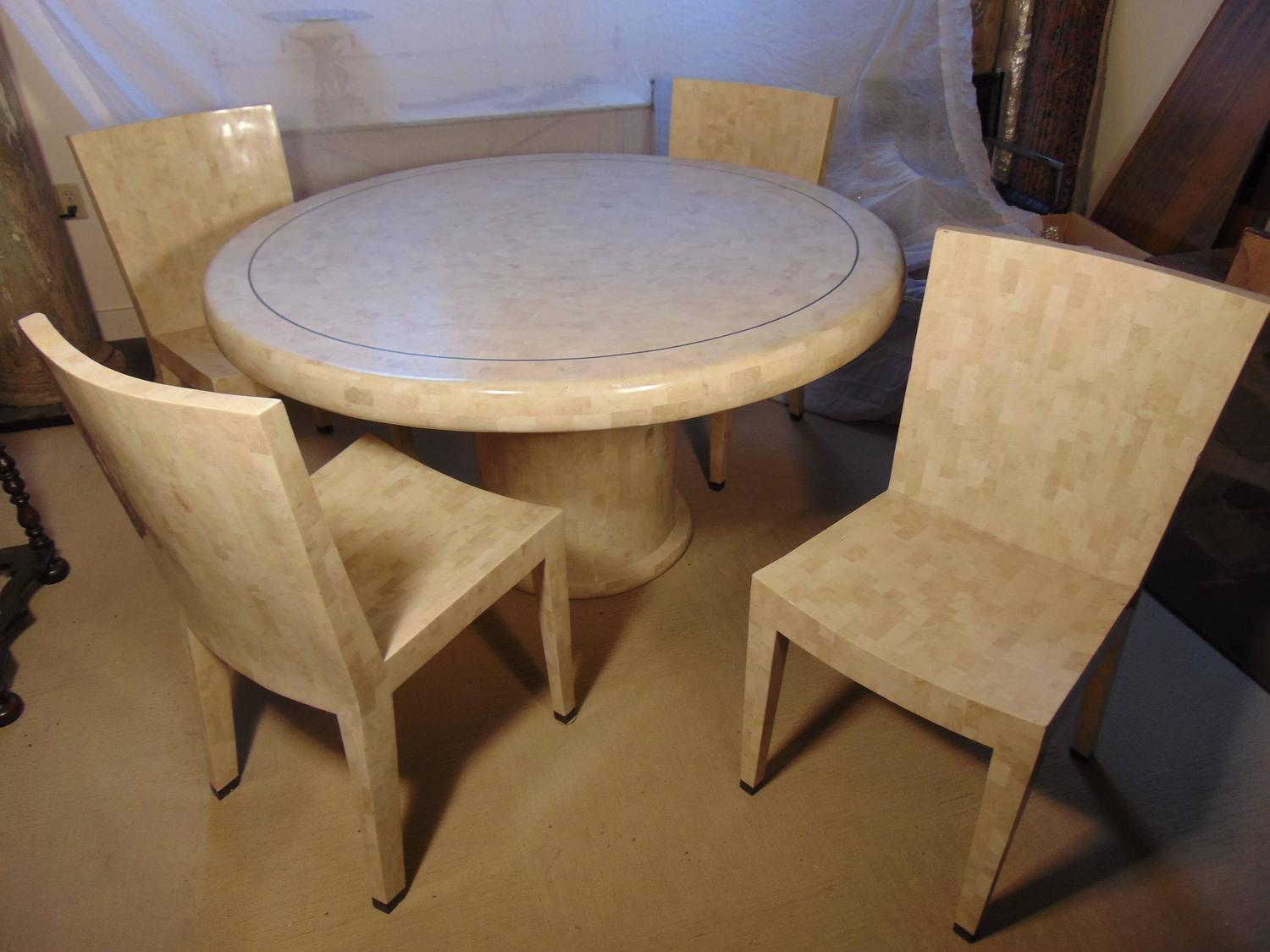 maitland smith dining chairs darien lake concert lawn tessellated marble table and four by