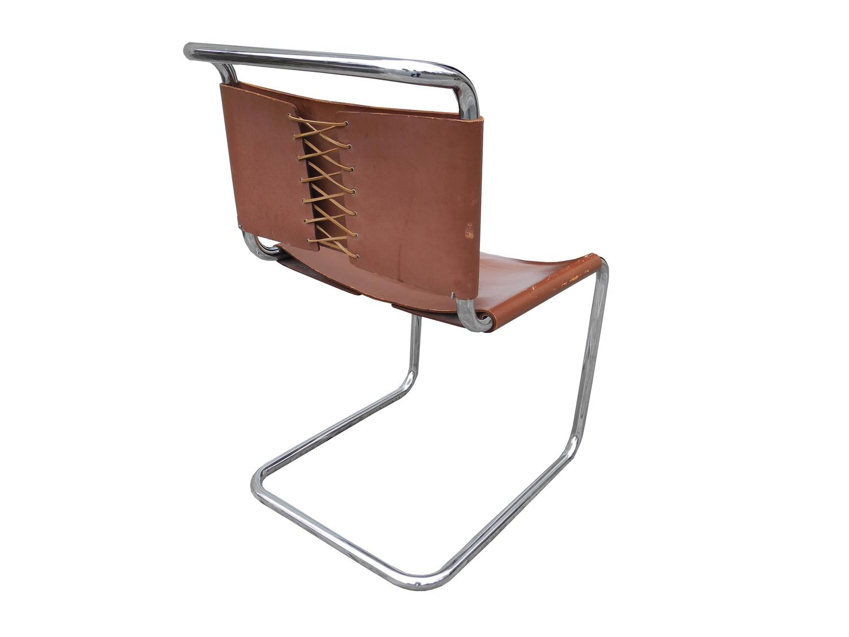 mart stam chair armless accent bauhaus design cantilevered tubular metal and saddle