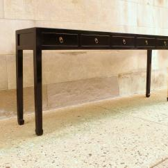 Black Lacquer Sofa Table And Gold Cushions Fine Console With Drawers At 1stdibs