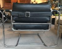 Tubular Chrome Leatherette Strap Buckle Chair by Selig For ...
