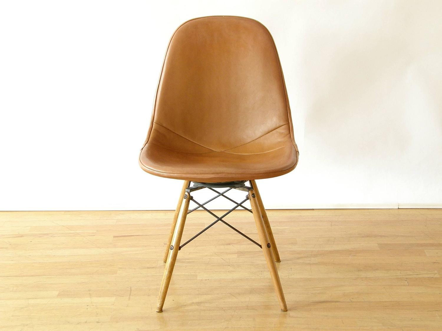 swivel chair wooden legs hanging with cushion eames dowel leg at 1stdibs