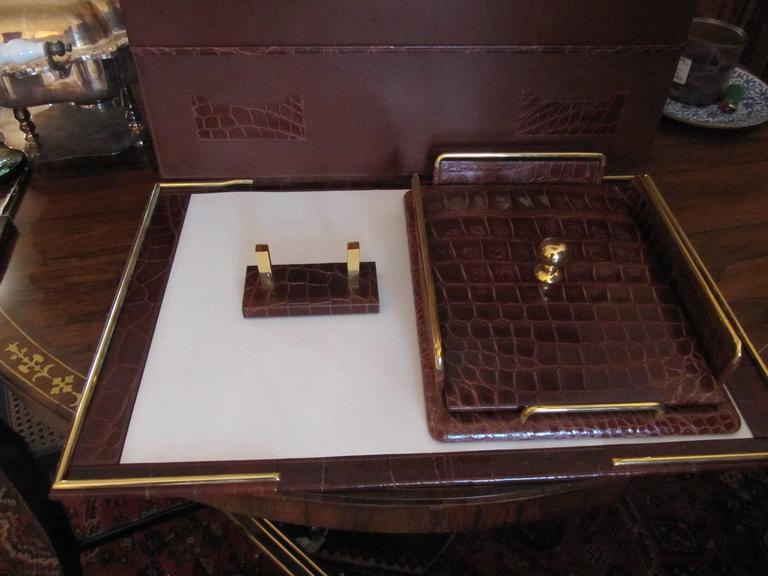 Italian Alligator Desk Set in the Style of Hermes For Sale