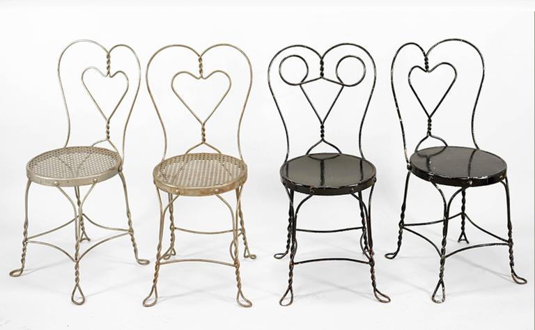 cafe chairs metal indoor hammock chair stand collection of nine american for sale at 1stdibs