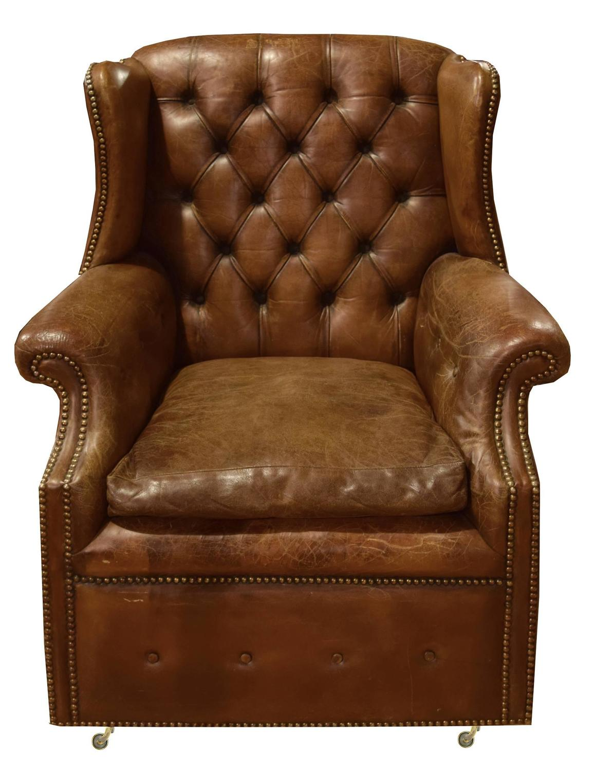 Leather Wing Back Chair Italian Tufted Leather Wing Chair For Sale At 1stdibs