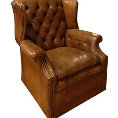 Tufted Leather Wingback Chair 2 Bistro Set Italian Wing For Sale At 1stdibs