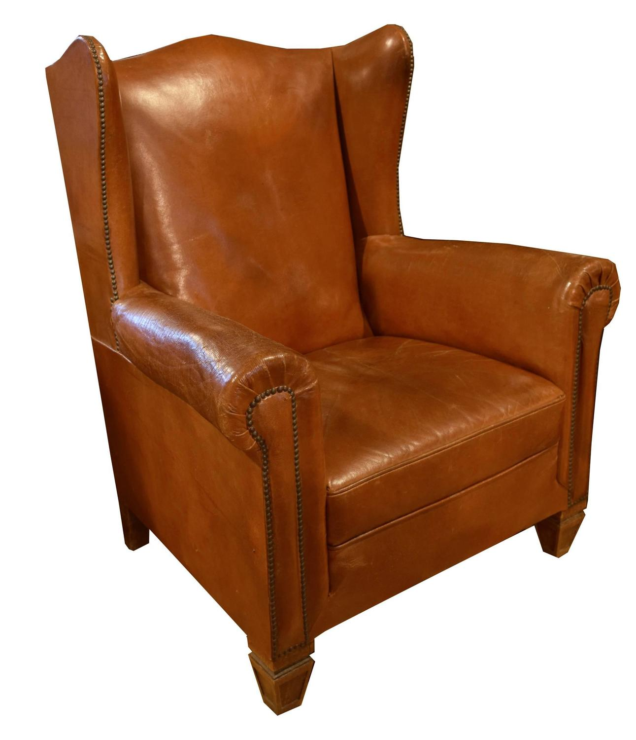 Leather Wing Back Chair Italian Leather Wingback Chair For Sale At 1stdibs
