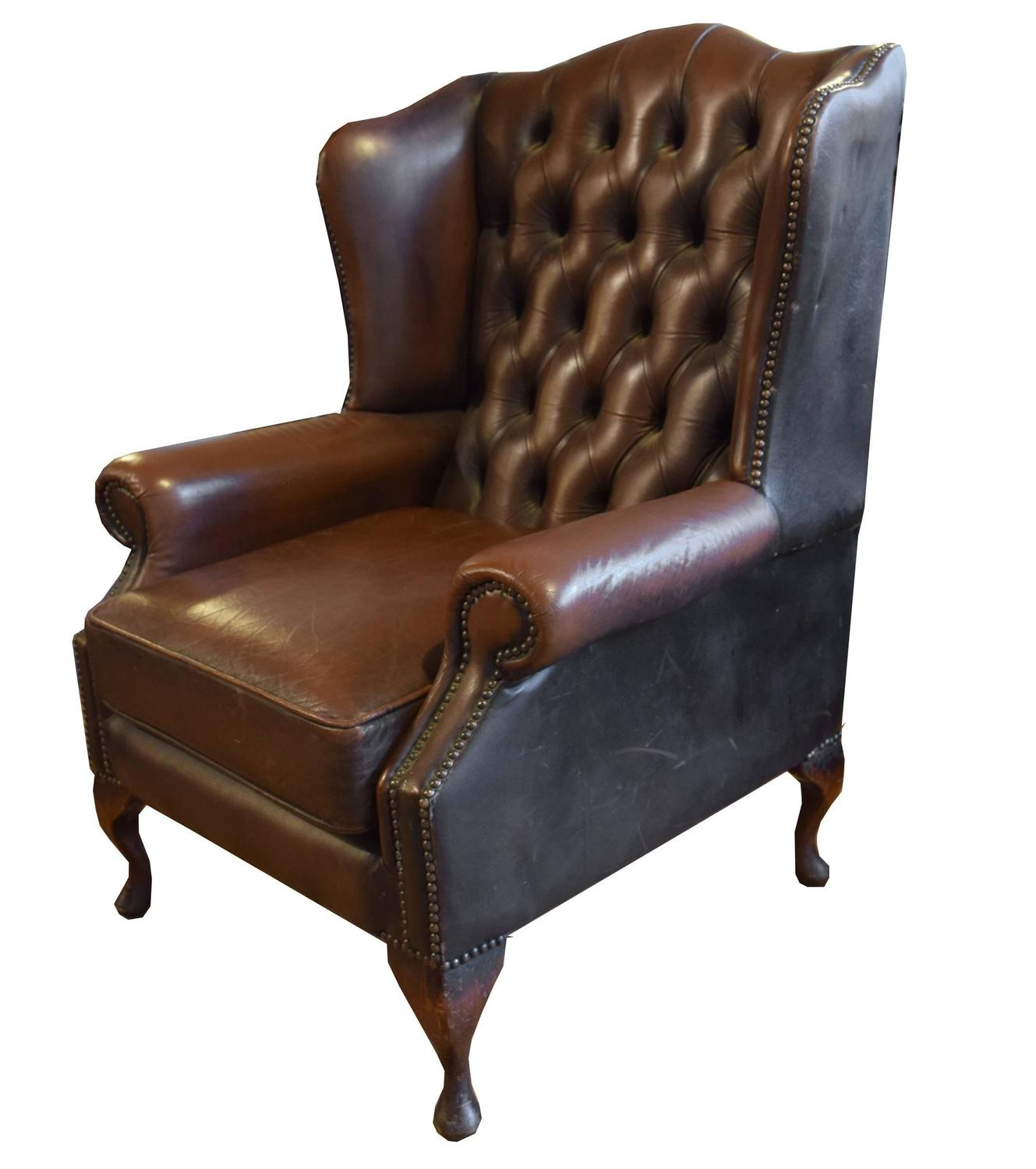 tufted leather wingback chair real electric execution photos wing for sale at 1stdibs