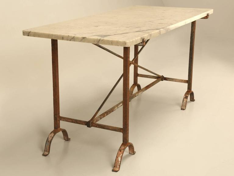 Antique French Iron and Marble Kitchen Table at 1stdibs