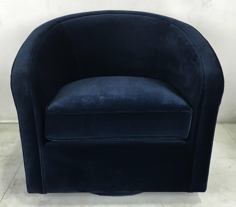 Pair of Navy Velvet Swivel Chairs in the Style of Milo