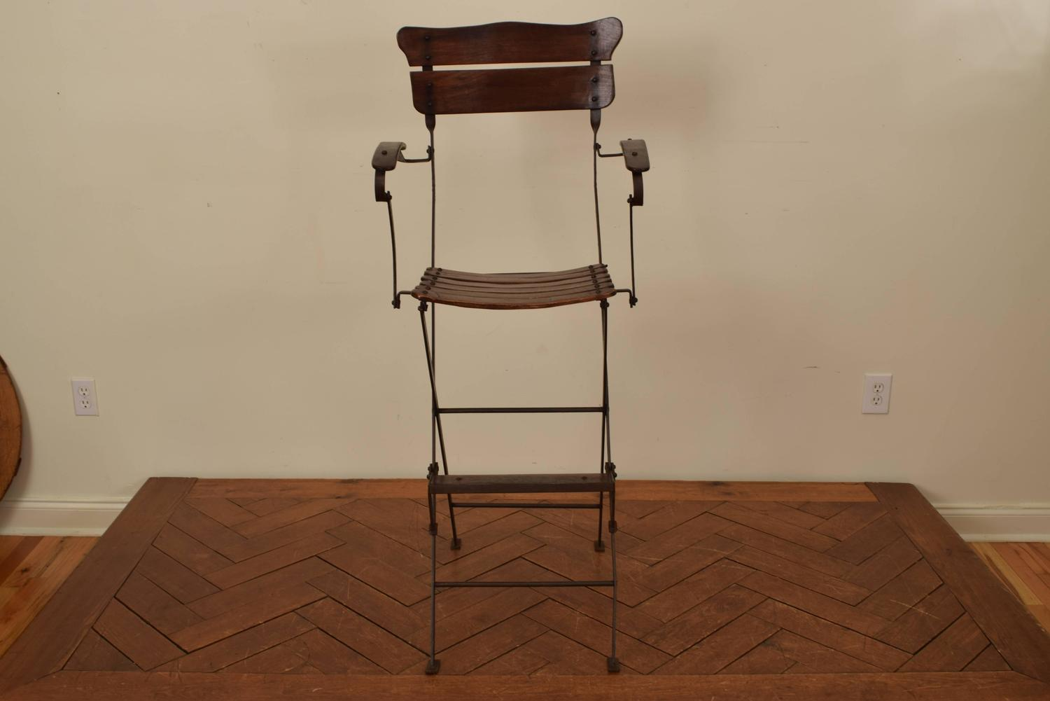folding umpire chair high back office chairs french forged iron and wooden 39s