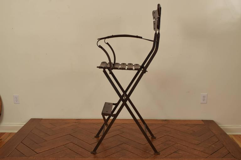 folding umpire chair 24 hour french forged iron and wooden s circa 1900 for in good condition sale