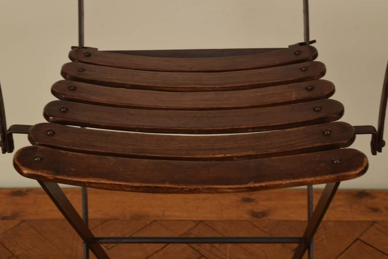 folding umpire chair modern leather desk french forged iron and wooden s circa 1900 for sale 2