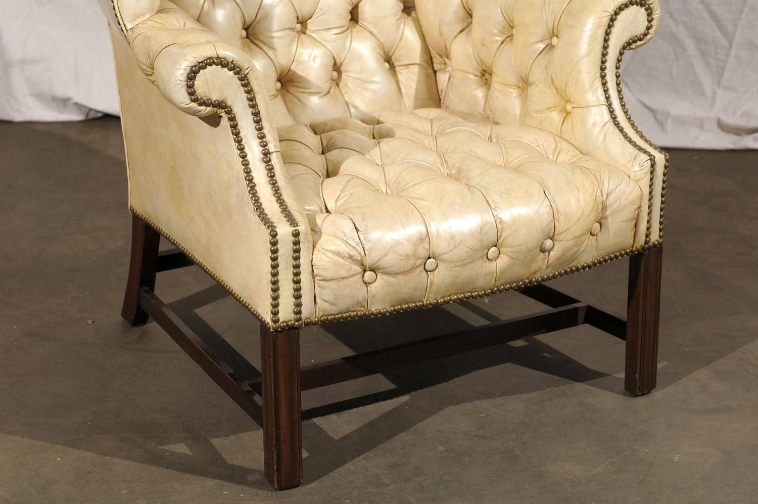 white tufted chairs best video game 20th century georgian style wing chair