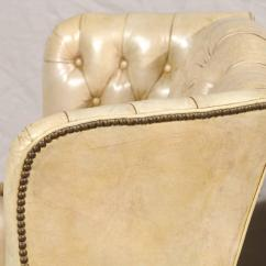 White Leather Wingback Chair Outdoor Bistro Pads 20th Century Tufted Georgian Style Wing