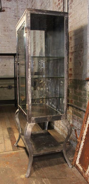 Antique Metal and Glass Doctors  Medical Cabinet at 1stdibs