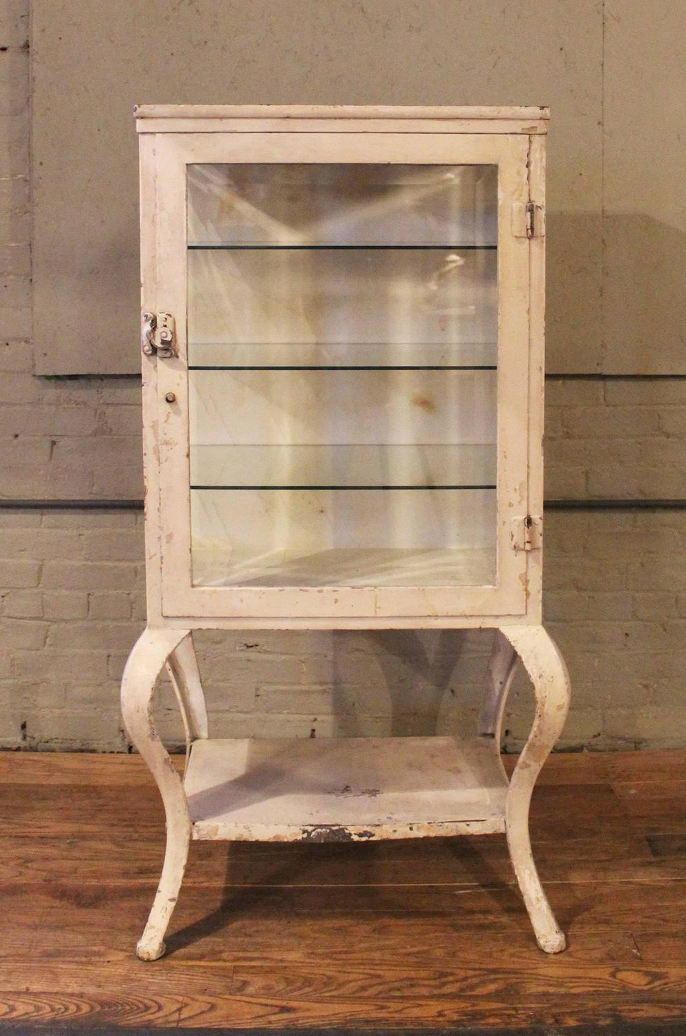 Antique Metal and Glass Apothecary Medical Storage