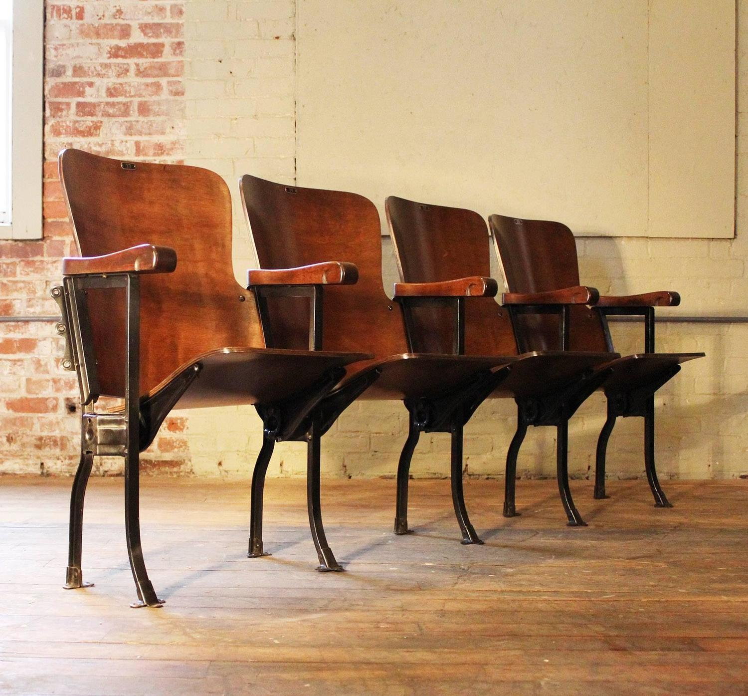movie chairs for sale carolina panthers folding vintage original wood and steel theater seats