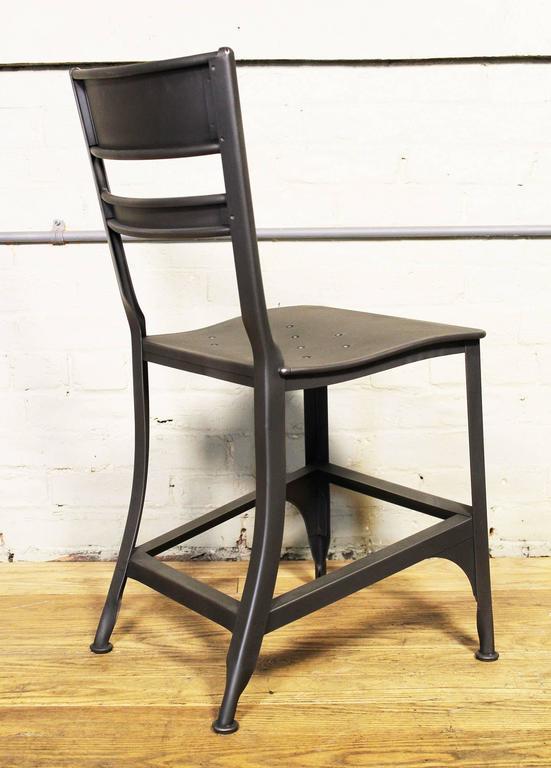 industrial dining chair maker jim steel seat vintage mid century modern metal toledo factory machine shop style