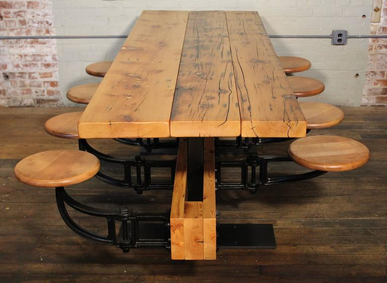 Dining Table With Chairs Reclaimed Wood And Cast Iron